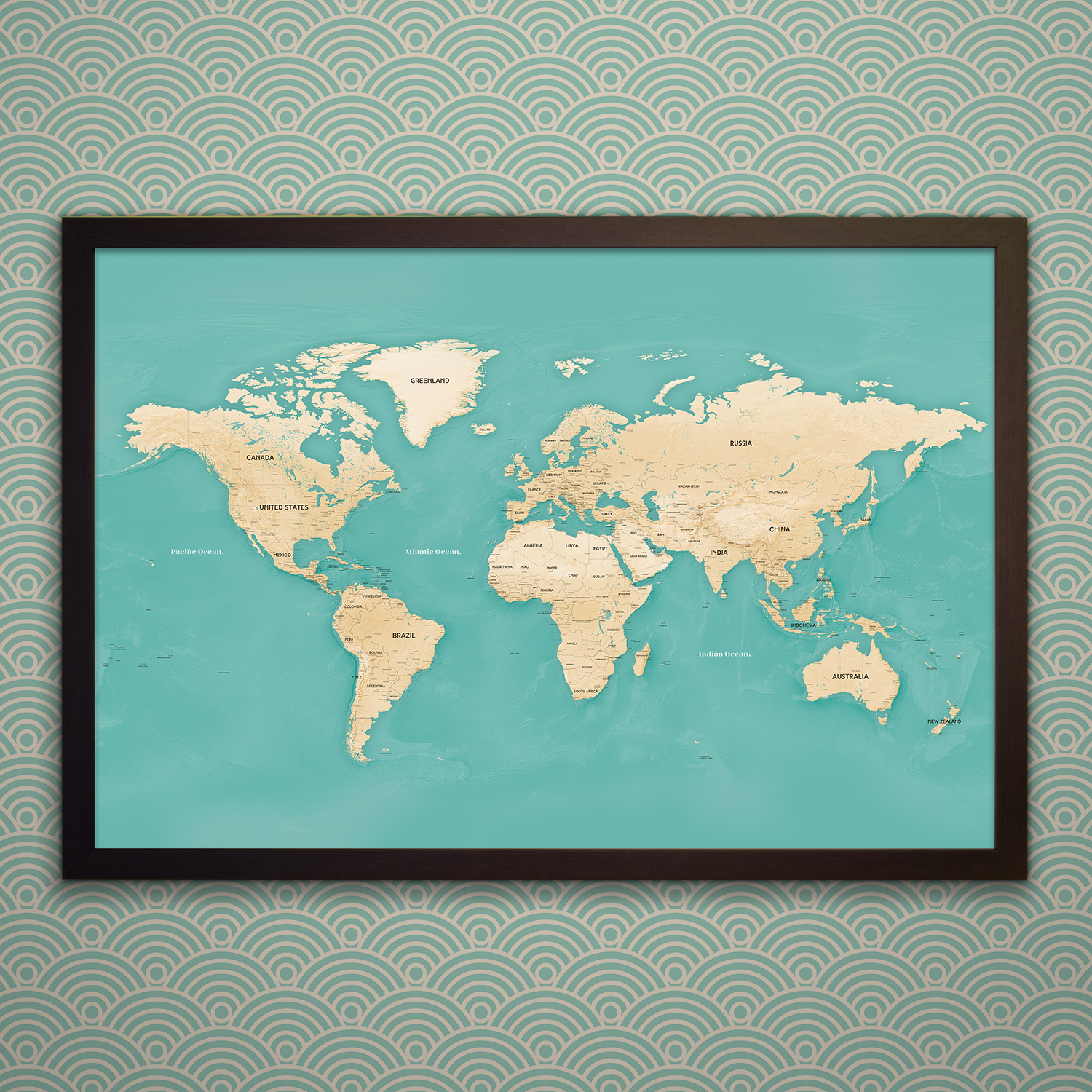 Travel Map With Pins Black Frame