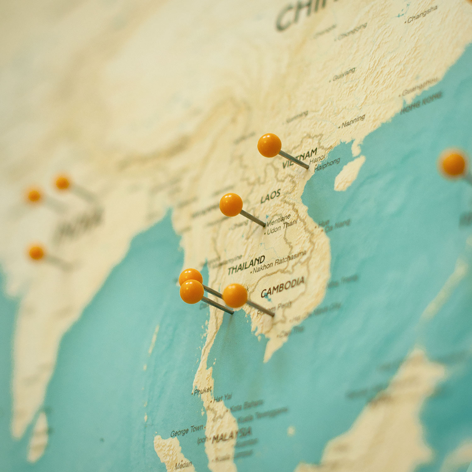 the kanawa push pin travel map asia
