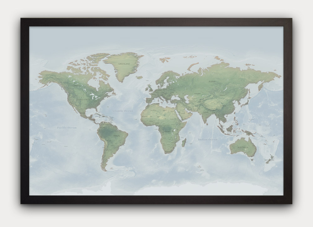 Light Green Push Pin World Map Designed By Map Republic
