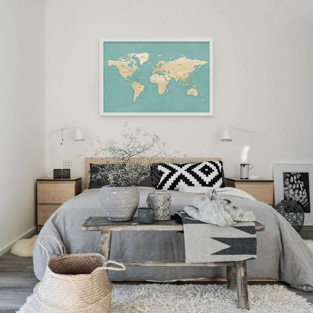 komodo world map in apartment