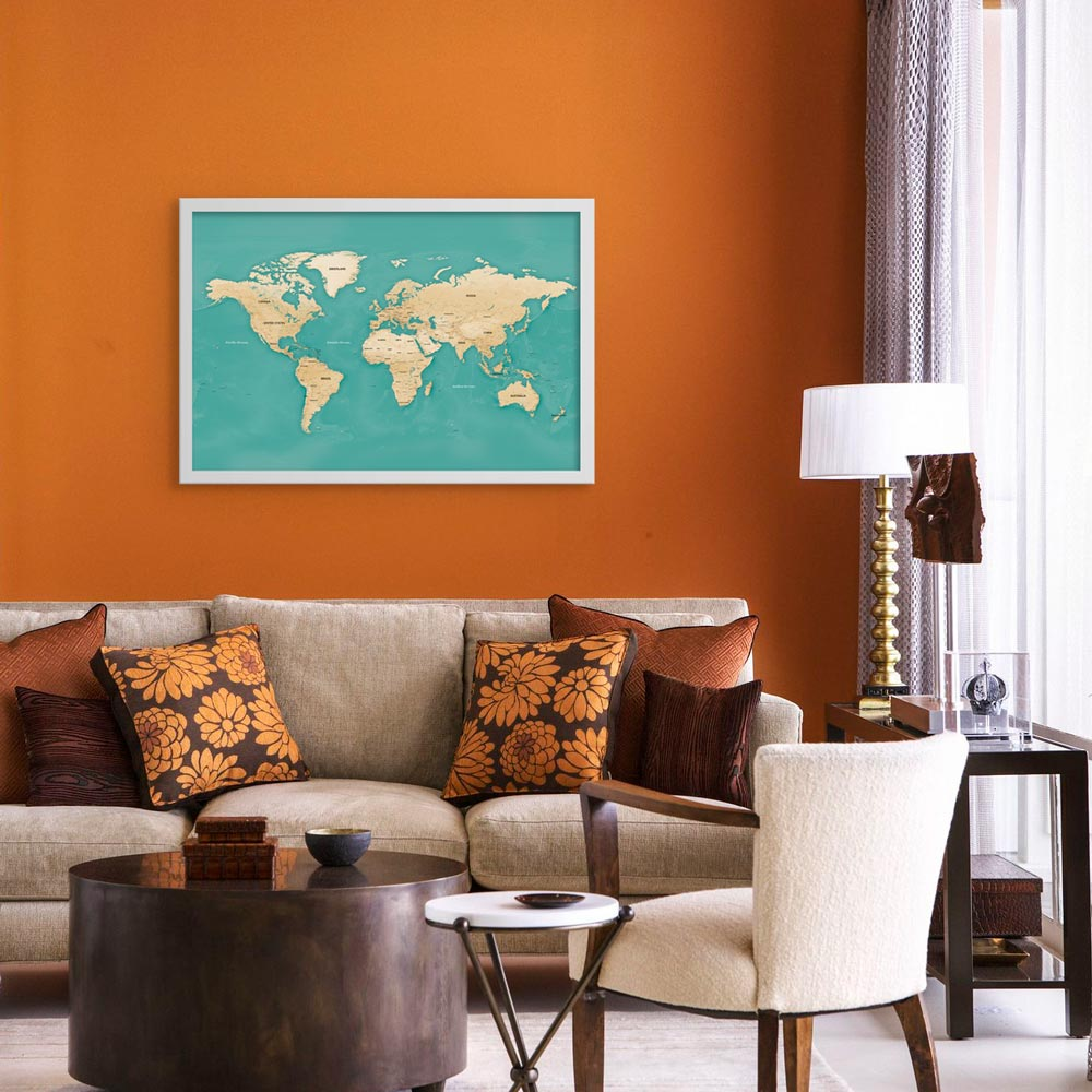 komodo world map in living room decor