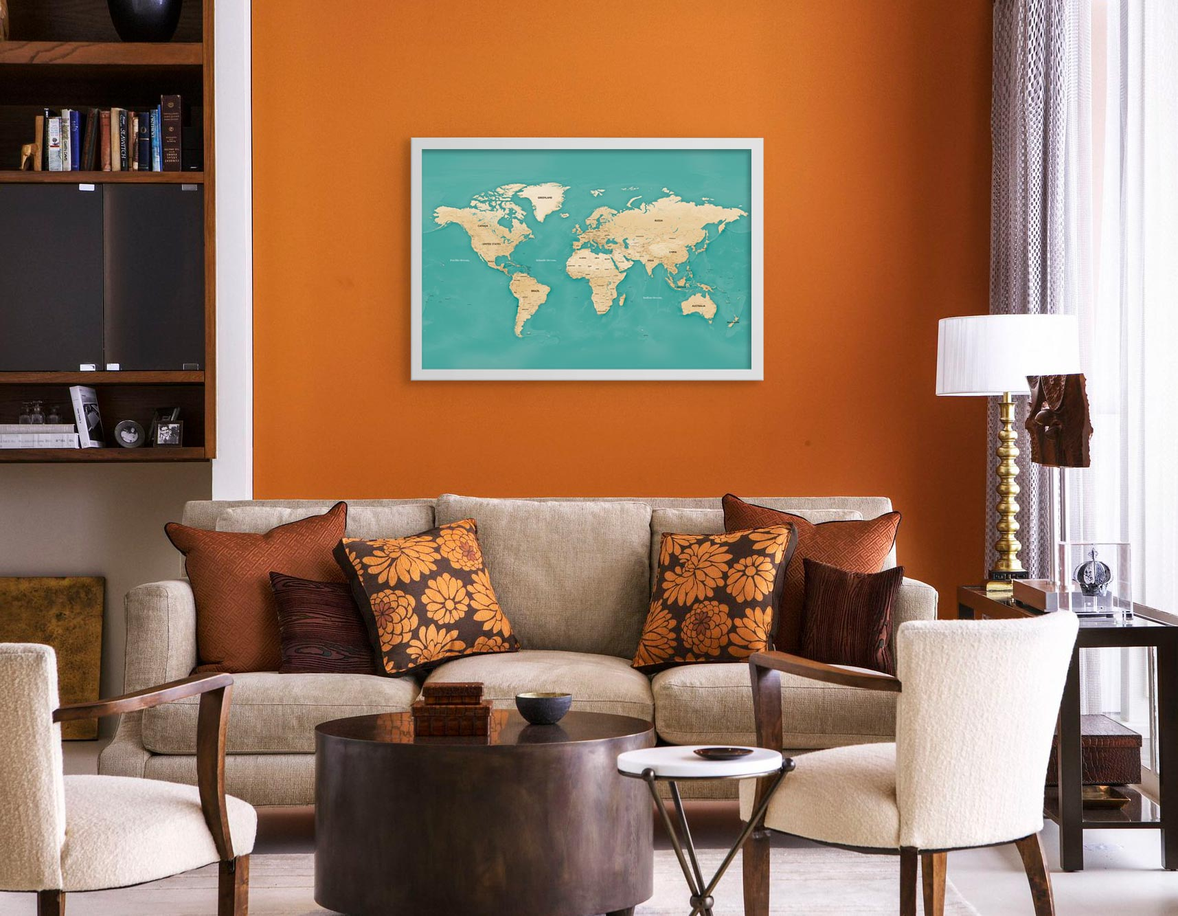 Komodo pin map in orange living room